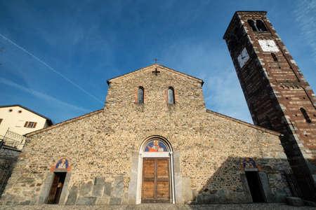 monza: Medieval church of Santi Pietro e Paolo in Agliate (Monza Brianza, Lombardy, Italy): the facade Stock Photo