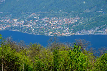 ancient pass: Madonna del Ghisallo, at top of the famous Ghisallo pass (Como, Lombardy, Italy). View of the Como lake (Lario). The Madonna del Ghisallo is the protector of the cyclists Stock Photo