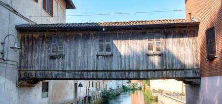 milánó: The famous wooden bridge. Stock fotó