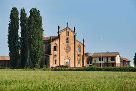 The historic church of San Bassiano near Lodivecchio (or Lodi Vecchio, Lodi, Lombardy, Italy), exterior