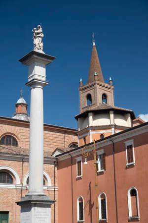 Forli (Emilia Romagna, Italy): exterior of historic buildings in cathedral square Stock Photo