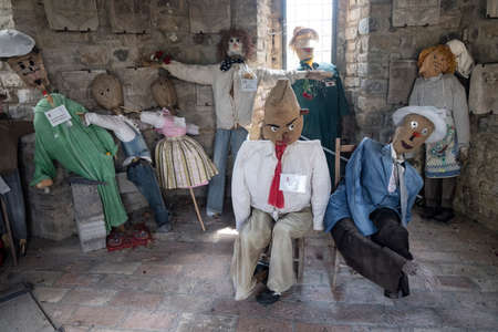puppets: Frontino, historic village in Montefeltro, Pesaro Urbino, Marches, Italy). Museum of the scarecrows. Free entrance.