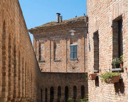 Corinaldo (Ancona, Marches, Italy): the historic town at morning. Walls Stock Photo