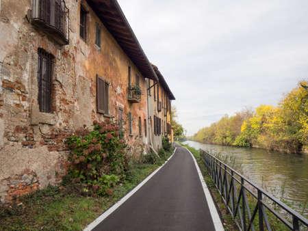 Bicycle path along the Naviglio Grande from Abbiategrasso to Turbigo (Lombardy, Italy), at Robecco sul Naviglio: Palazzo Archinto