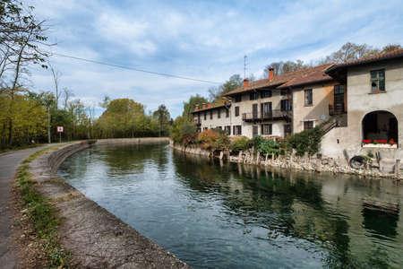 leonardo da vinci: Bicycle path along the Naviglio Grande from Abbiategrasso to Turbigo (Lombardy, Italy), at Castelletto di Cuggiono