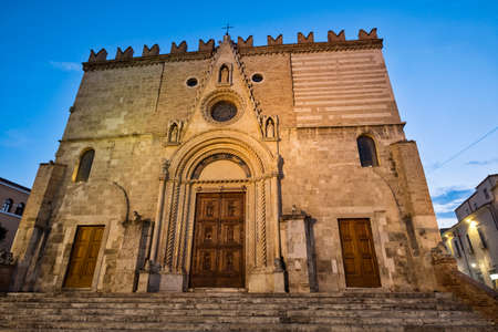 Teramo /Abruzzi, Italy): the medieval cathedral (Duomo) at evening