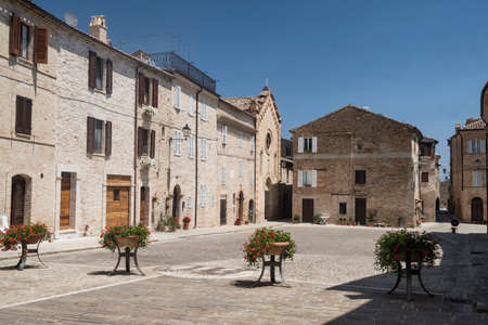 Moresco (Fermo, Marches, Italy): old typical buildings in the historic town Stock Photo