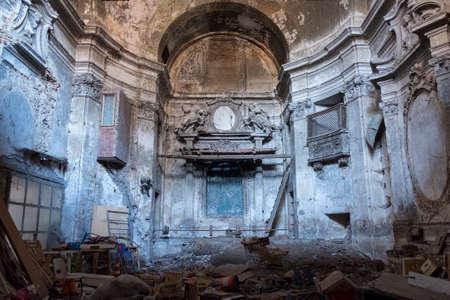 Rieti (Lazio, Italy): interior of ruined abandoned church