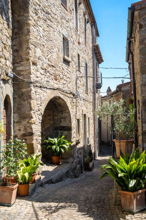 Historic town of Baschi (Terni, Umbria, Italy) at summer. Old typical street