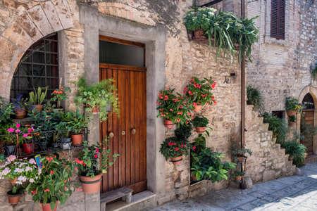 Historic buildings of Spello, medieval city (Perugia, Umbria, Italy). Alley