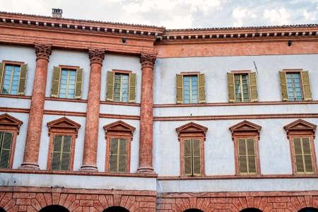 Historic buildings of Foligno, Perugia, Umbria, Italy. Facade of palace Stock Photo