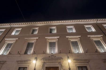 Historic building of Foligno, Perugia, Umbria, Italy, at evening