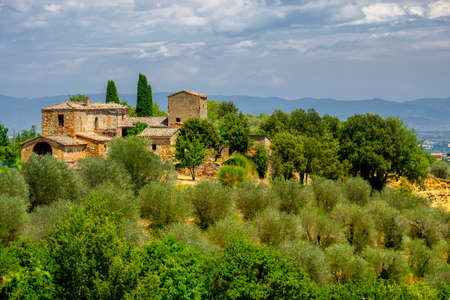 Country landscape along the road fron Chianciano to Montepulciano, Siena, Tuscany, Italy, at summer