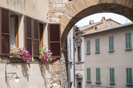 Historic buildings in Montepulciano, Siena, Tuscany, Italy: typical street