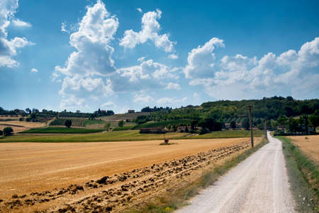 Country landscape at summer between Spello and Perugia (Imbria, Italy) Stock Photo