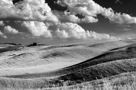 Country landscape along the road from Montepulciano to Asciano, Siena, Tuscany, Italy, at summer. Black and white