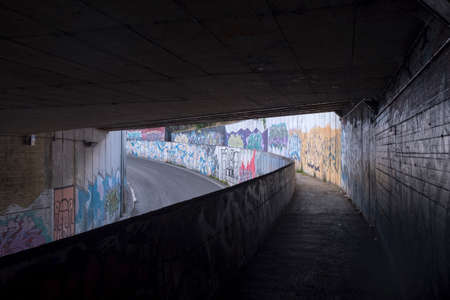 Underpass in Perugia, Umbria, Italy, with mural paintings Editorial