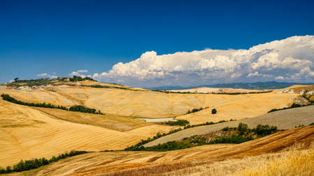 Country landscape along the road from Asciano to Siena, Tuscany, Italy, at summer