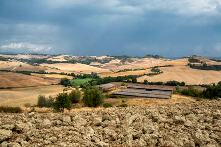 Country landscape along the road from Asciano to Torre a Castello, Siena, Tuscany, Italy, at summer