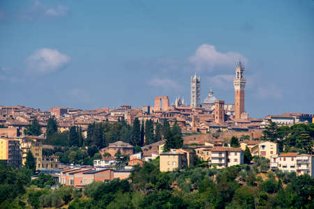 Typical rural landscape in the region of Chianti, in Tuscany, Italy, in a sunny summer day. Panoramic view of Siena Stock Photo