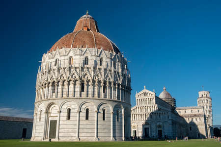 Pisa, Tuscany, Italy: the famous Piazza dei Miracoli, with the cathedral, the baptistery and the leaning tower