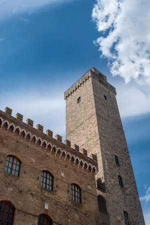 San Gimignano, Siena, Tuscany, Italy: the historic town at morning with its famous towers Stock Photo
