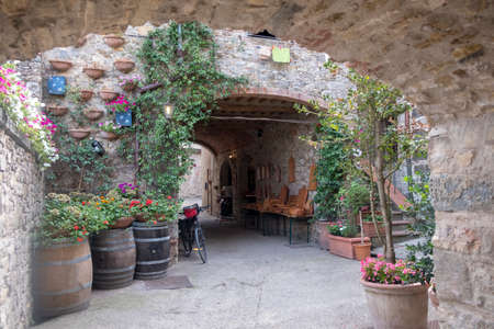 Castellina in Chianti, Siena, Tuscany, Italy: covered street in the medieval town with plants and flowers
