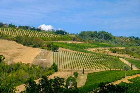Landscape along the road from San Gimignano to Volterra, Siena, Tuscany, Italy, at summer