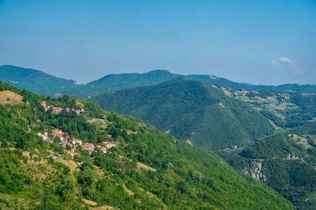 The road to Passo della Cisa from Tuscany (Massa Carrara) to Emilia Romagna (Parma) at summer