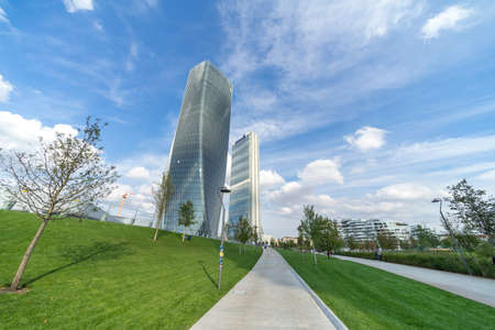 Milan, Lombardy, Italy: the Hadid and the Isozaki towers in the Citylife park Sajtókép
