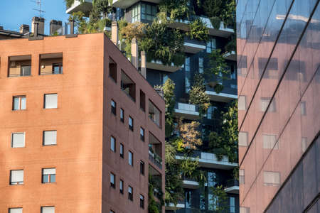Milan, Lombardy, Italy: modern buildings in the new Gae Aulenti square. Bosco Verticale