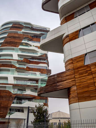 Milan, Lombardy, Italy: the modern Hadid residential buildings at Citylife