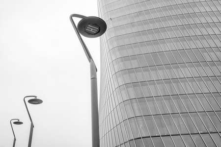 Milan, Lombardy, Italy: the Hadid tower at Citylife. Black and white