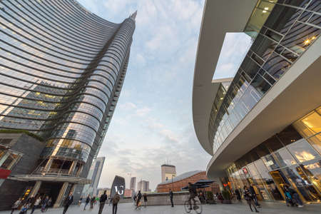 Milan, Lombardy, Italy: modern architecture in the famous Gae Aulenti square