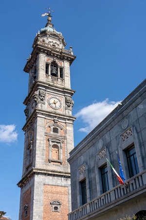 Varese, Lombardy, Italy: historic belfry of the San Vittore church and historic palace