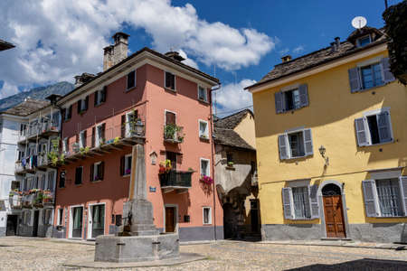 Historic buildings in Domodossola, Verbano Cusio Ossola, Piedmont, Italy