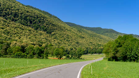 Valley Stura di Demonte, Cuneo, Piedmont, Italy: landscape at summer along the bicycle way 版權商用圖片