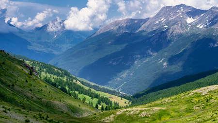 Mountain landscape along the road to Colle dellAssietta and Colle delle Finestre, Turin, Piedmont, italy, at summer Stock Photo