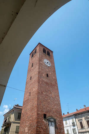 Crescentino, Vercelli, Piedmont, Italy: the municipal tower, medieval monument