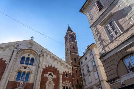Casale Monferrato, Alessandria, Piedmont, Italy: facade of the medieval cathedral (duomo)
