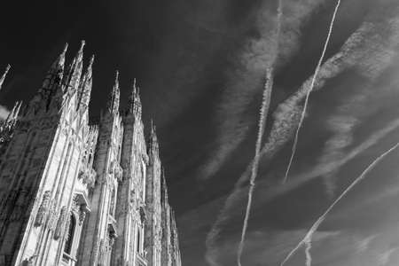 Milan, Lombardy, Italy: facade of the medieval cathedral (Duomo) 写真素材