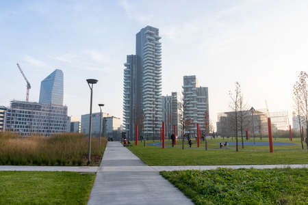 Milan, Lombardy, Italy: modern buildings in the new Gae Aulenti square seen from the Biblioteca degli Alberi park