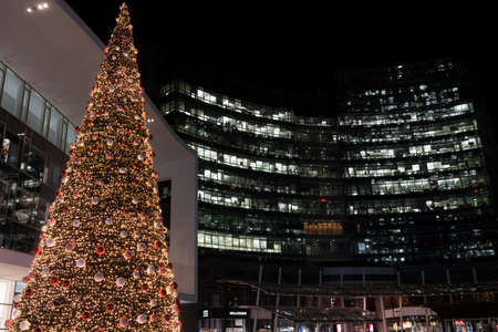 Milan, Lombardy, Italy: modern buildings in the new Gae Aulenti square by night at Christmas