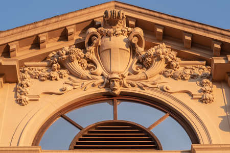Milan, Lombardy, Italy: architectural detail of historic restored palace at Citylife