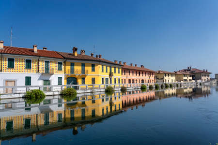 Gaggiano (Milan, Lombardy, Italy), historic town along the Naviglio Grande, at summer