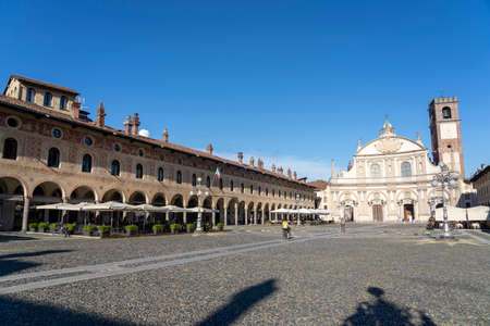 Vigevano, Pavia, Lombardy, Italy: the historic main square of the city, known as Piazza Ducale