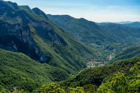 Panoramic view from the old village of Ugliancaldo, Massa Carrara, Tuscany, Italy, in the Lunigiana region, near Casola Stock Photo