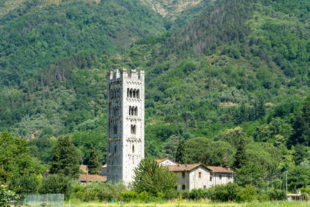 Diecimo, Lucca, Tuscany, Italy: the medieval church known as Pieve di Santa Maria