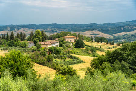 Rural landscape along the road from Certaldo to Gambassi Terme, Florence, Tuscany, Italy, at summer