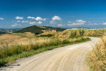 Rural landscape near Volterra, Pisa, Tuscany, Italy, at summer. Road